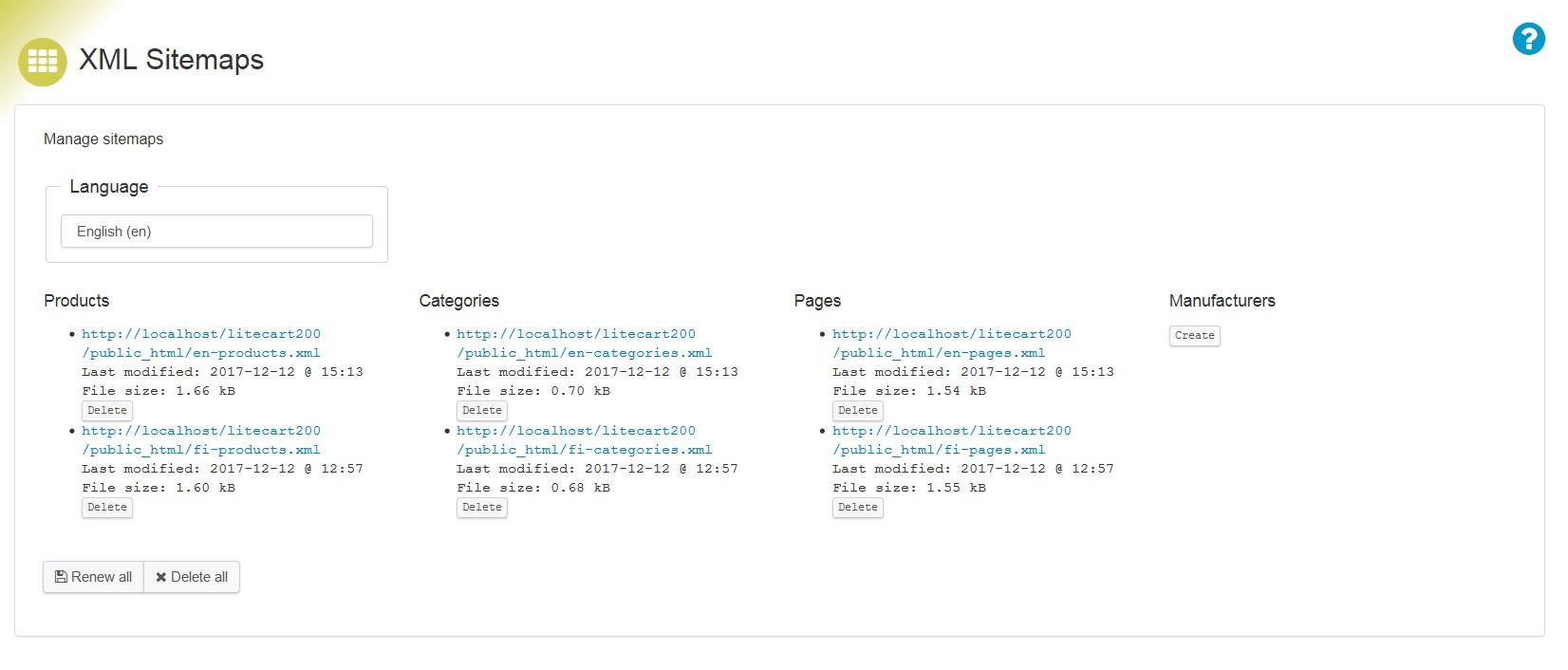 xml sitemaps add ons litecart
